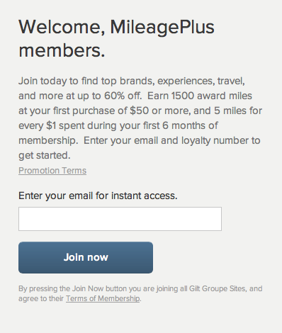 Gilt MileagePlus Sign Up