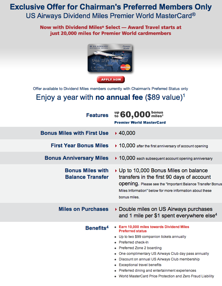 US Airways Chairmans Offer