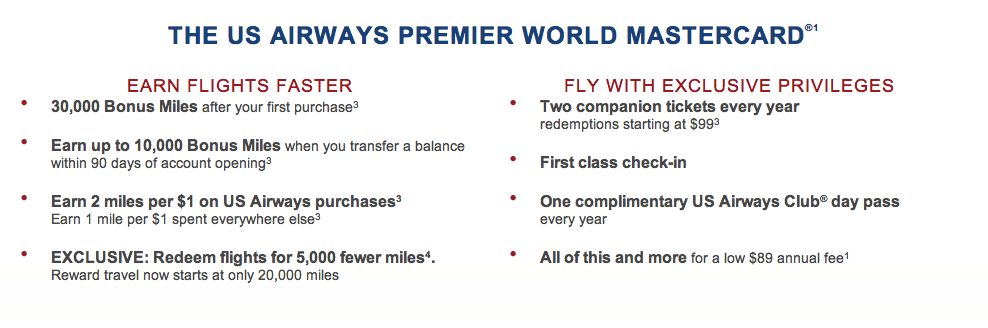 US Airways Standard Offer