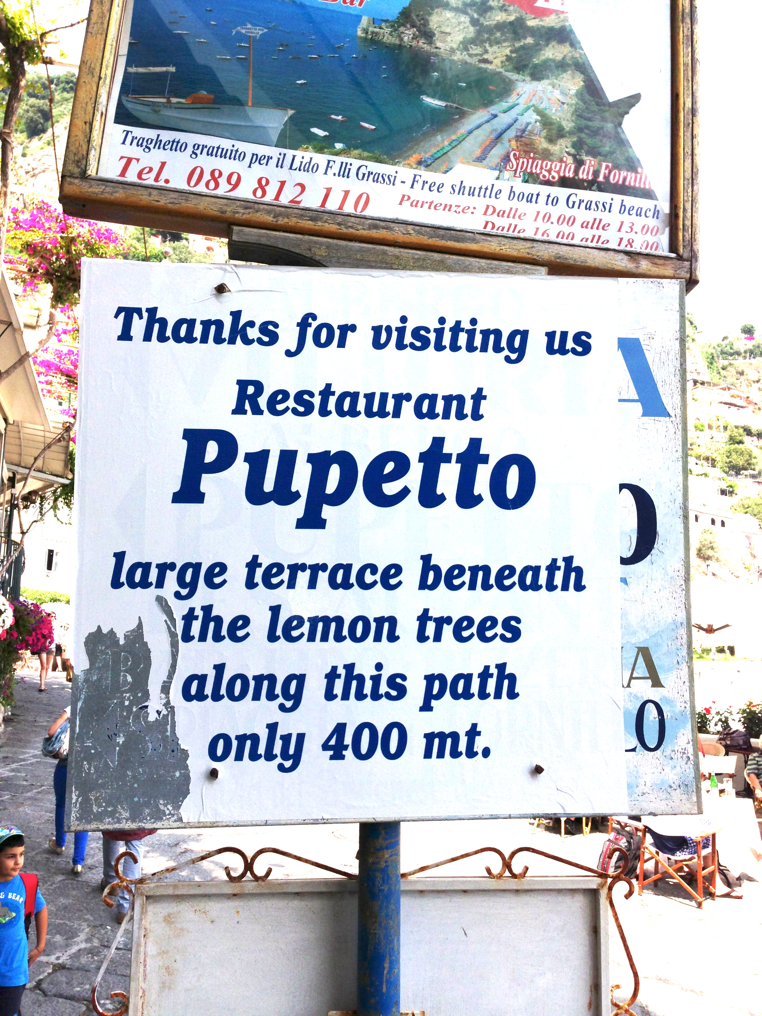 Pupetto Restaurant Sign on the Via Positanesi D'America