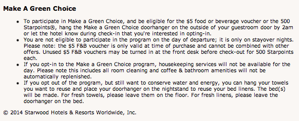 Sheraton Westin Starwood Make A Green Choice Program Terms and Conditions