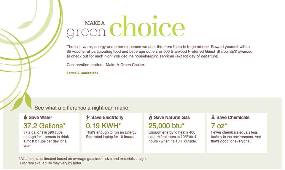 Sheraton Westin Starwood Make A Green Choice Program