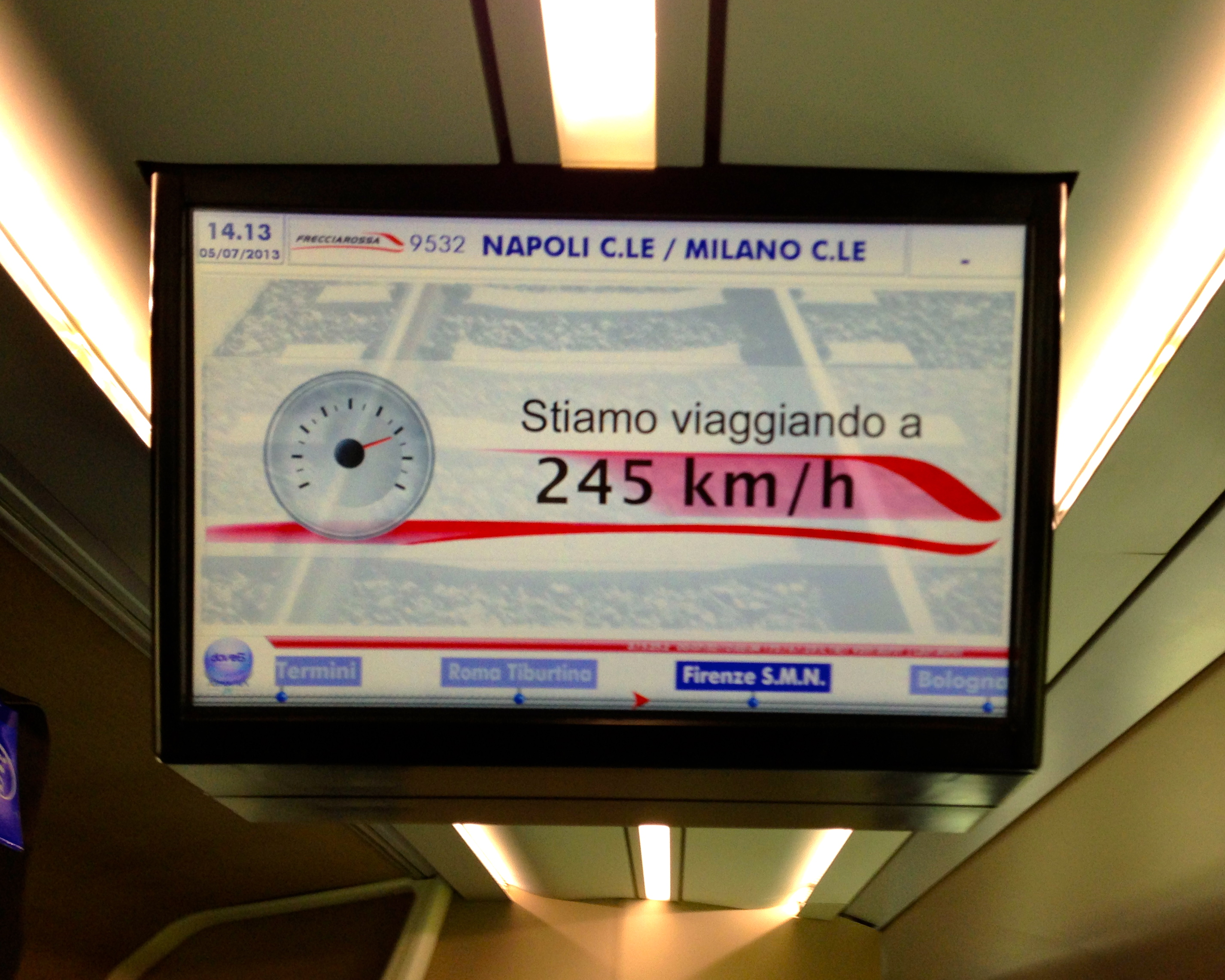 Trenitalia Frecciarossa Naples to Florence Speed Indicator