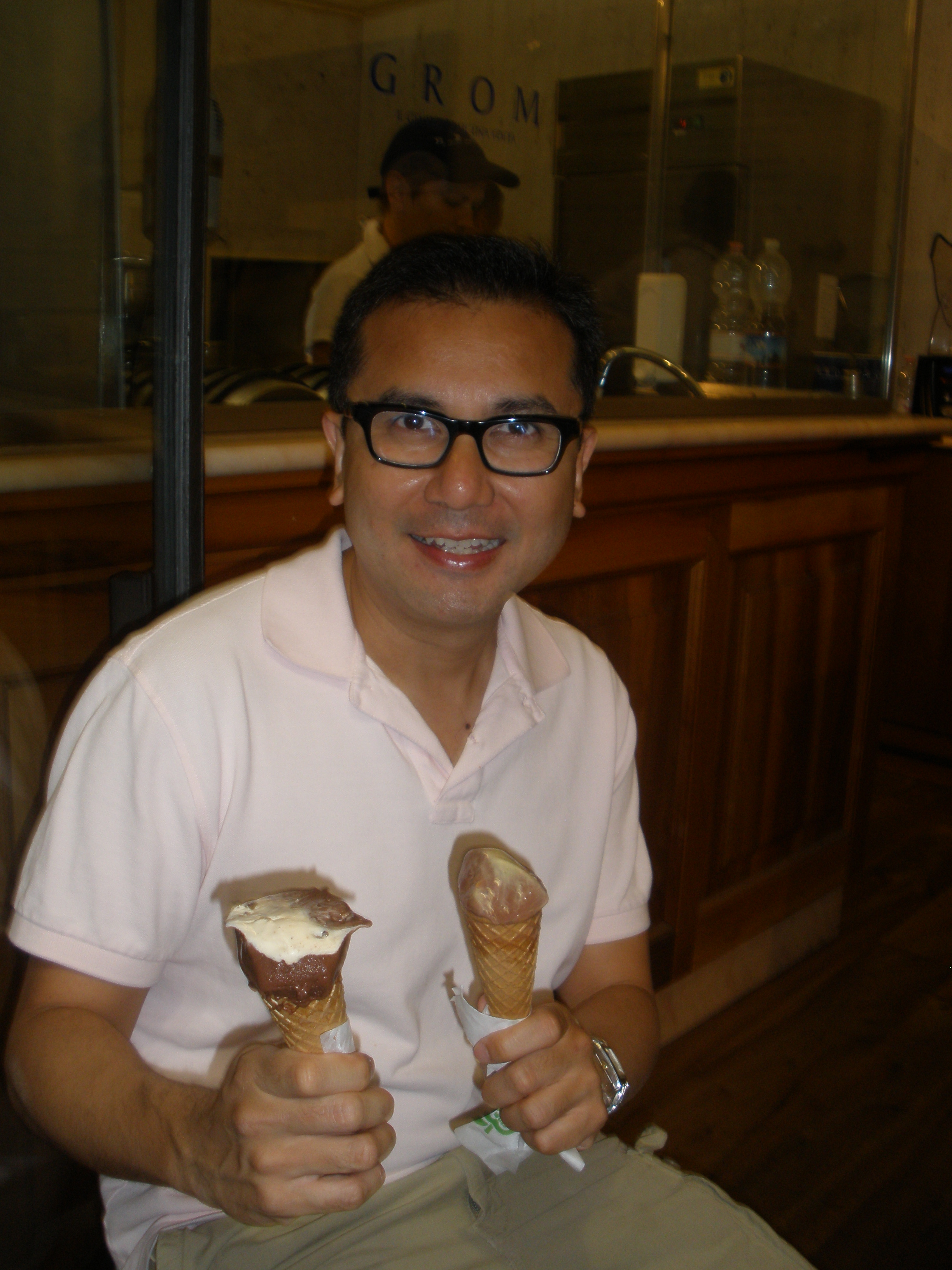 Grom Gelato Florence FromPointATo with his hands full