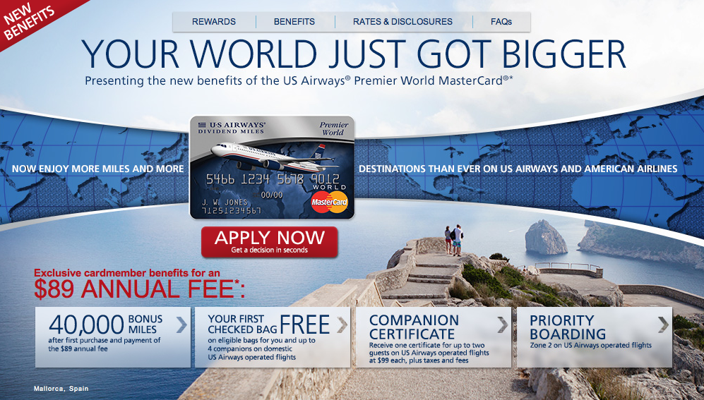 US Airways MasterCard 40000 Mile Offer
