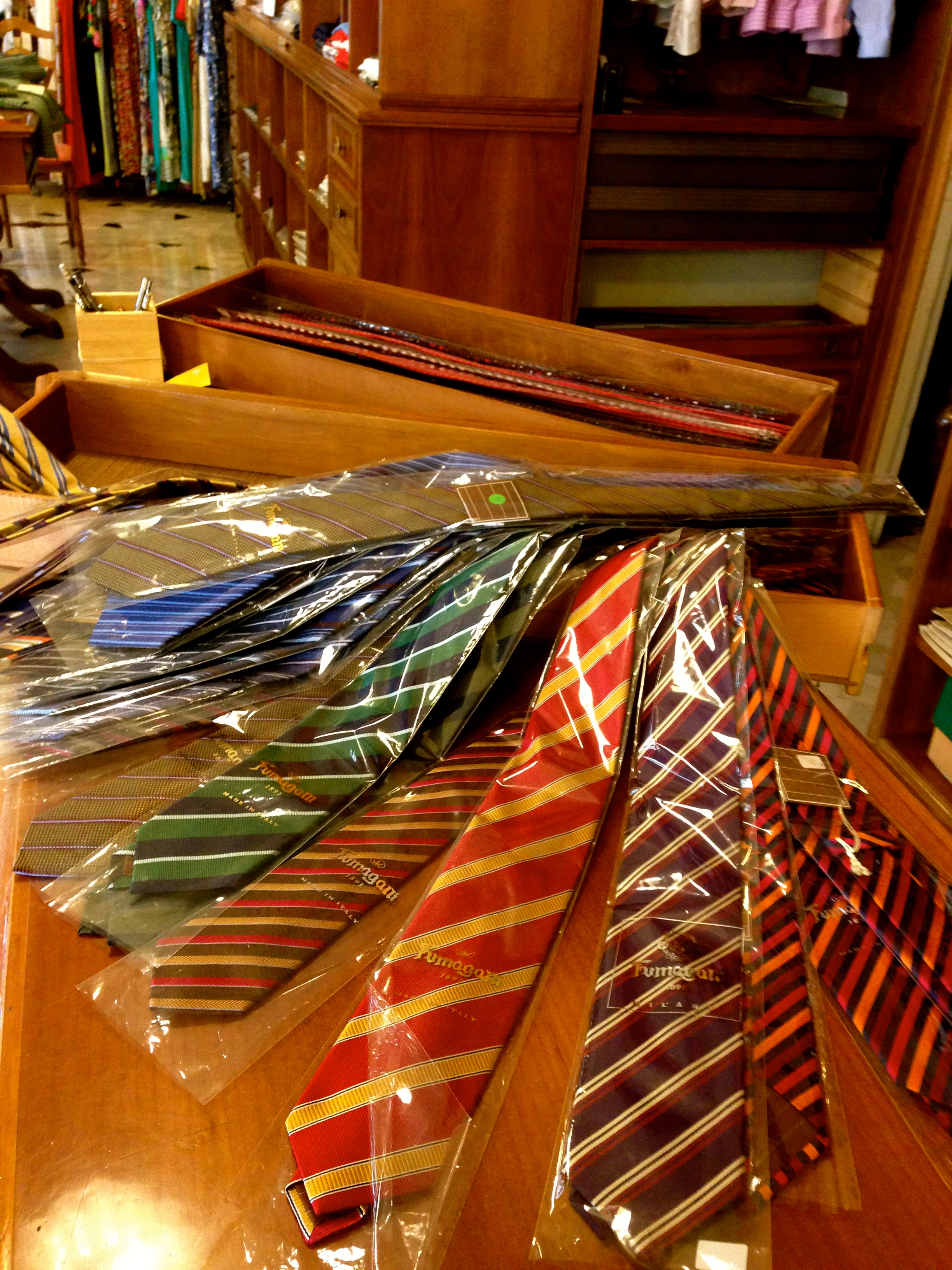 Barnaba Clothing Store Florence Ties on Display
