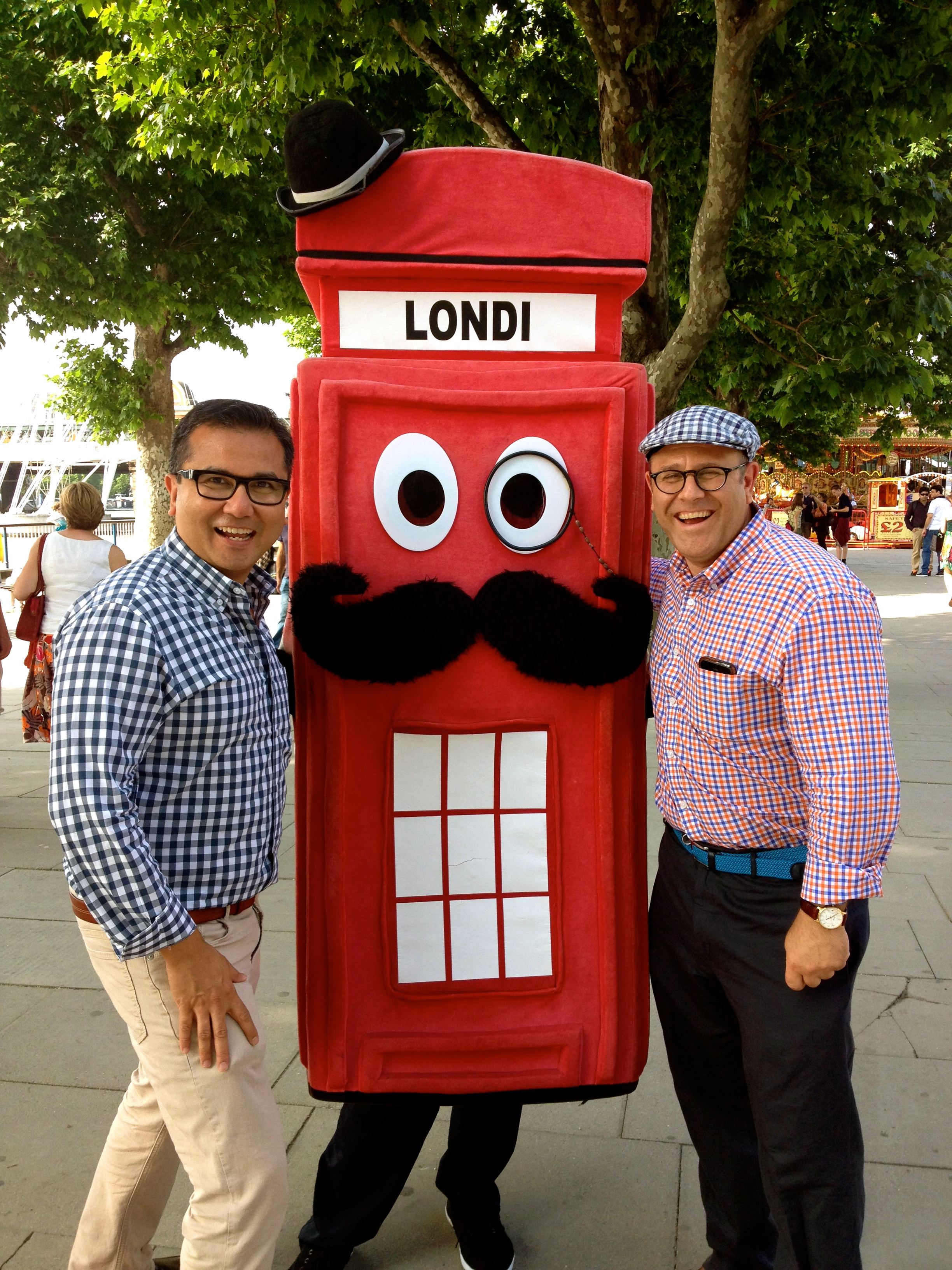 Posing with Londi Character on Thames South Bank Centre London