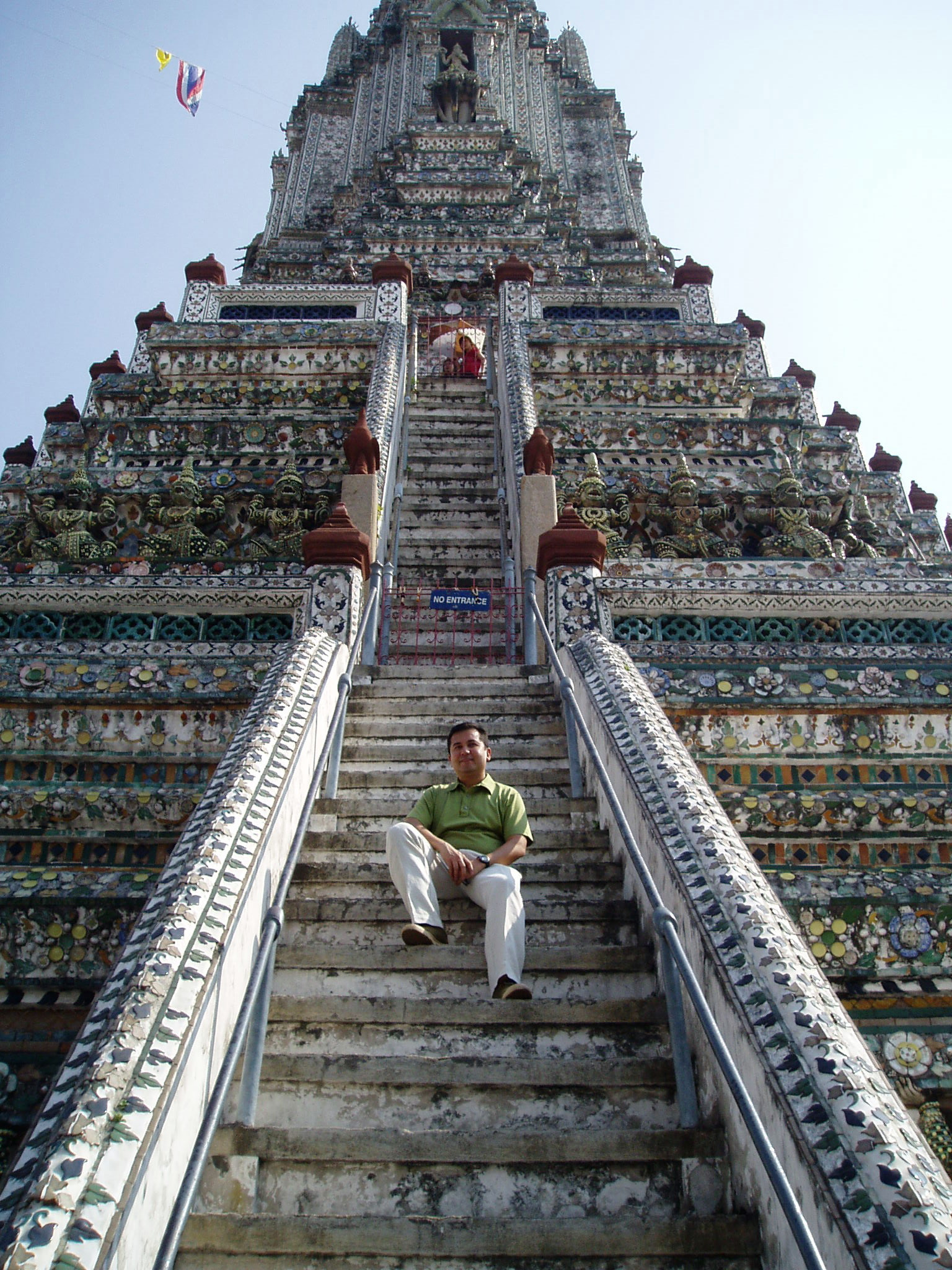 Wat Arun Bangkok Sitting on the temple steps