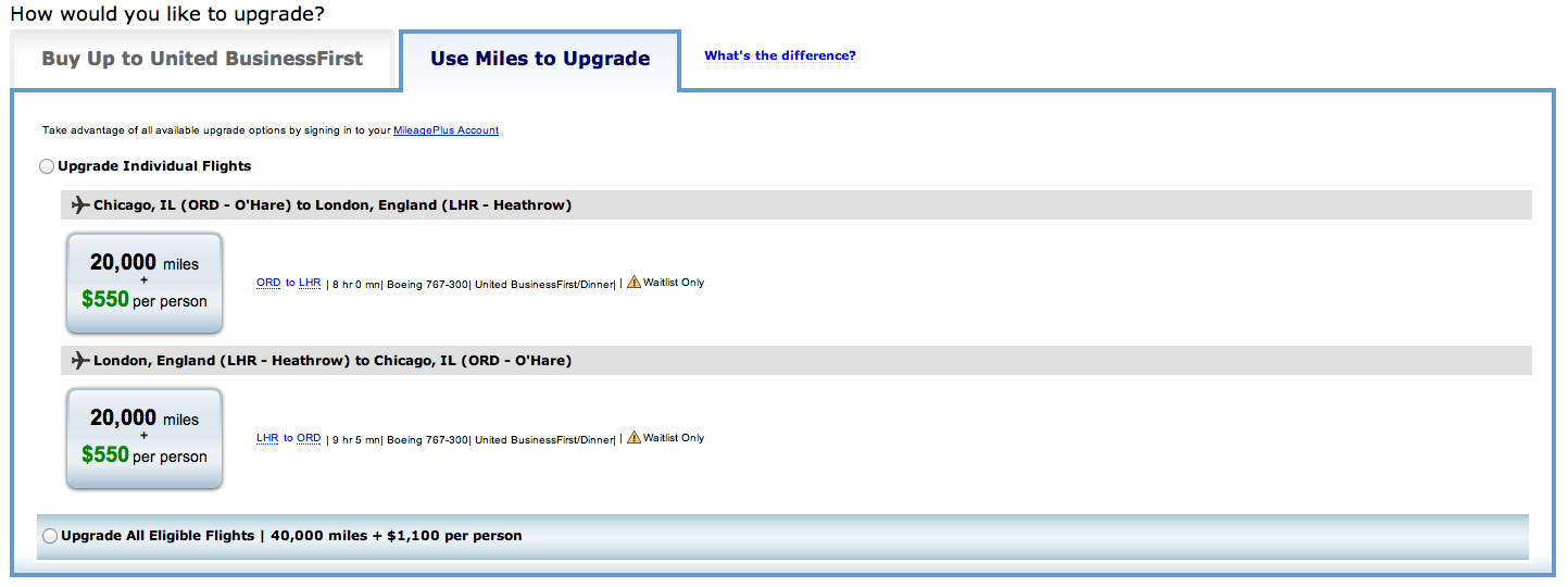 Upgrading United flight to Business Class using MileagePlus miles