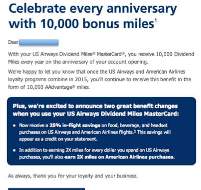 US Airways MasterCard – How do you keep me hangin' on?