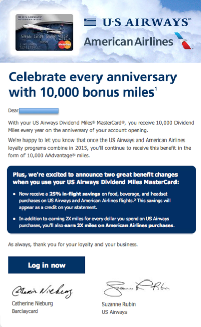 US Airways 10,000 Mile Anniversary Bonus