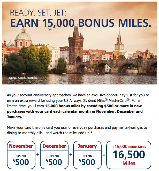 US Airways MasterCard 15,000 Bonus Miles Spending Offer