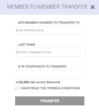 Starwood Starpoints Member-to-Member Transfer Form