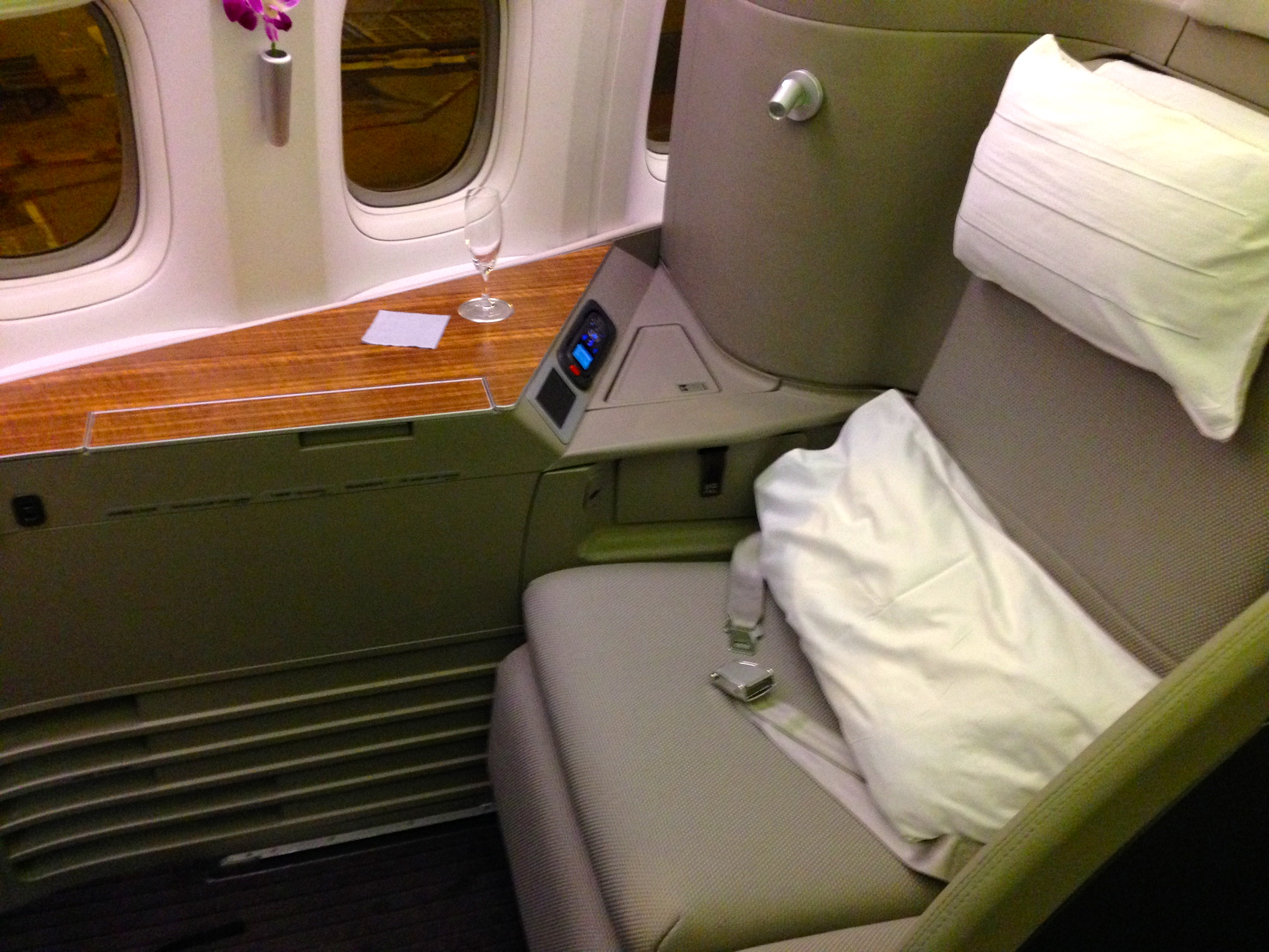 Cathay Pacific First Class Seat Suite Hong Kong HKG to Chicago ORD