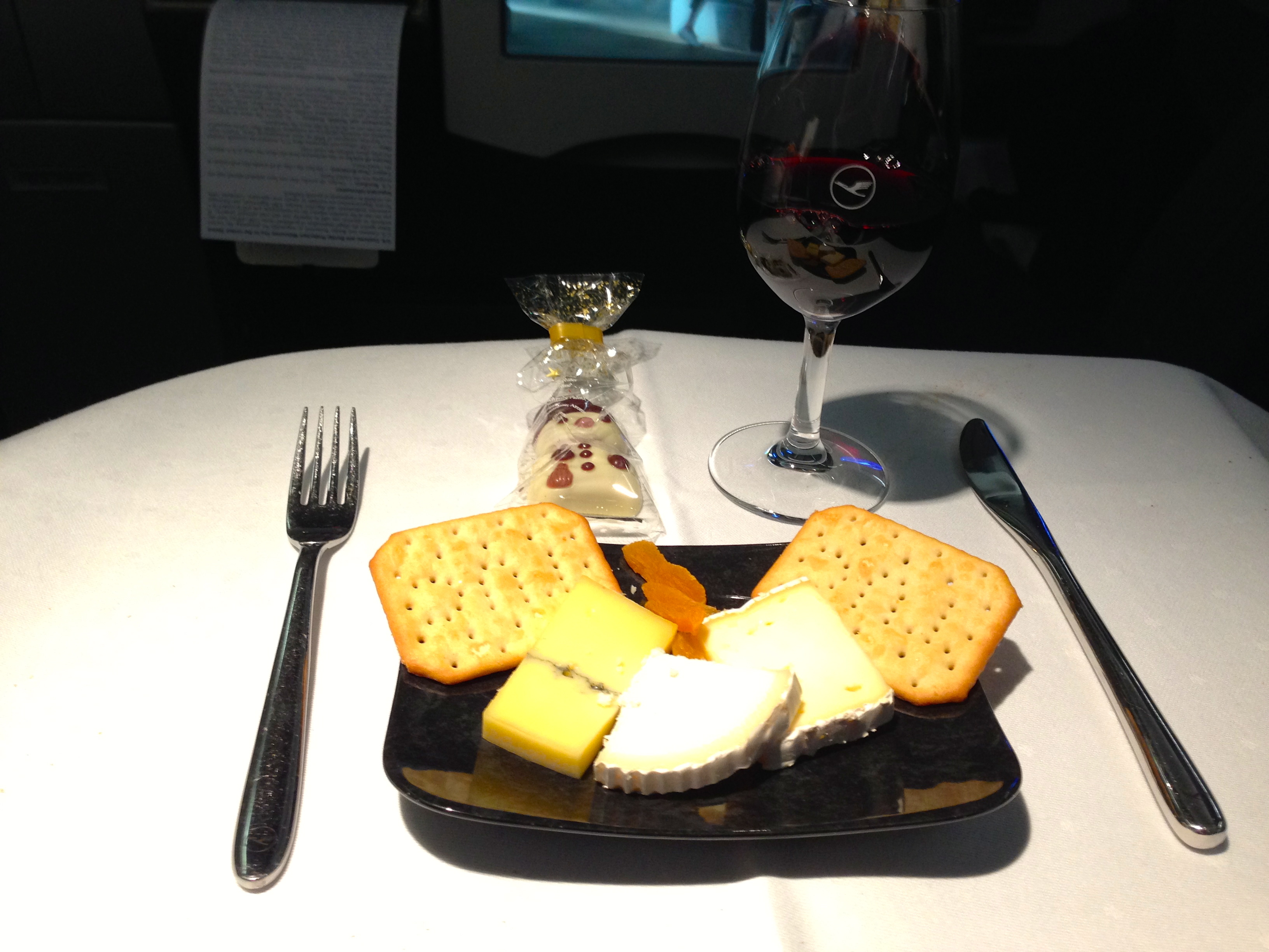 Lufthansa A340-300 Business Class Cheese Course