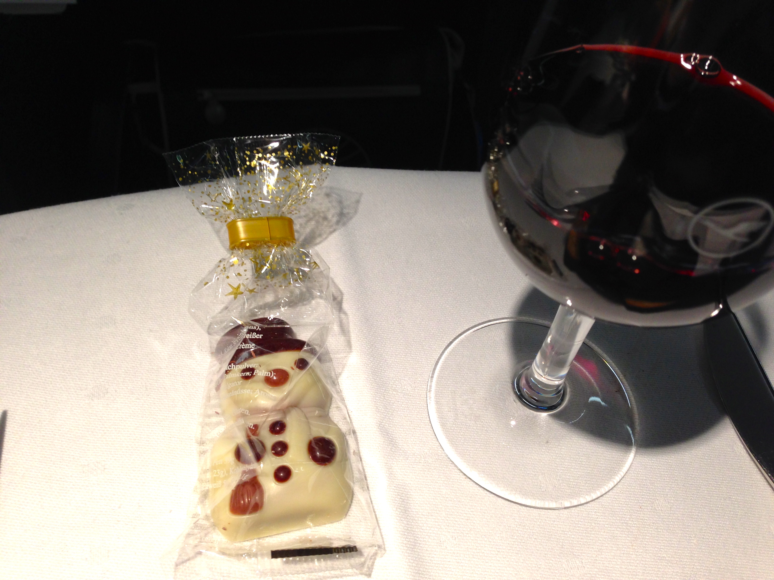 Lufthansa A340-300 Business Class Chocolate Snowman Dessert Munich to Chicago