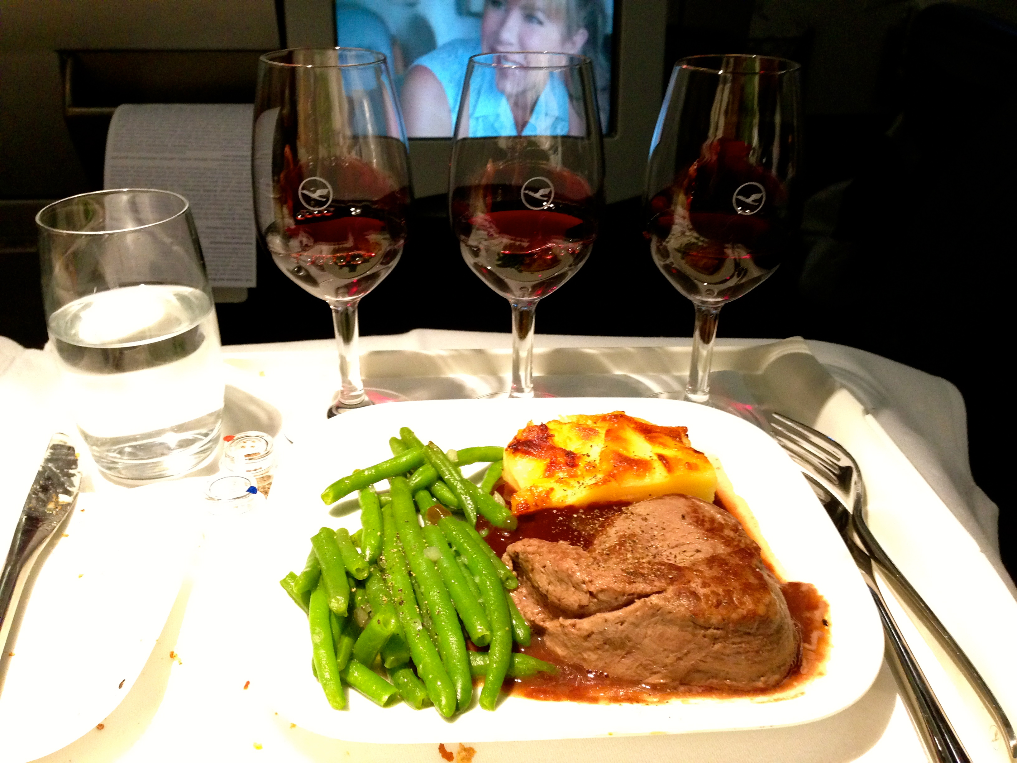 Lufthansa A340-300 Business Class Main Course Beef Entree Munich to and Wine Flight Chicago
