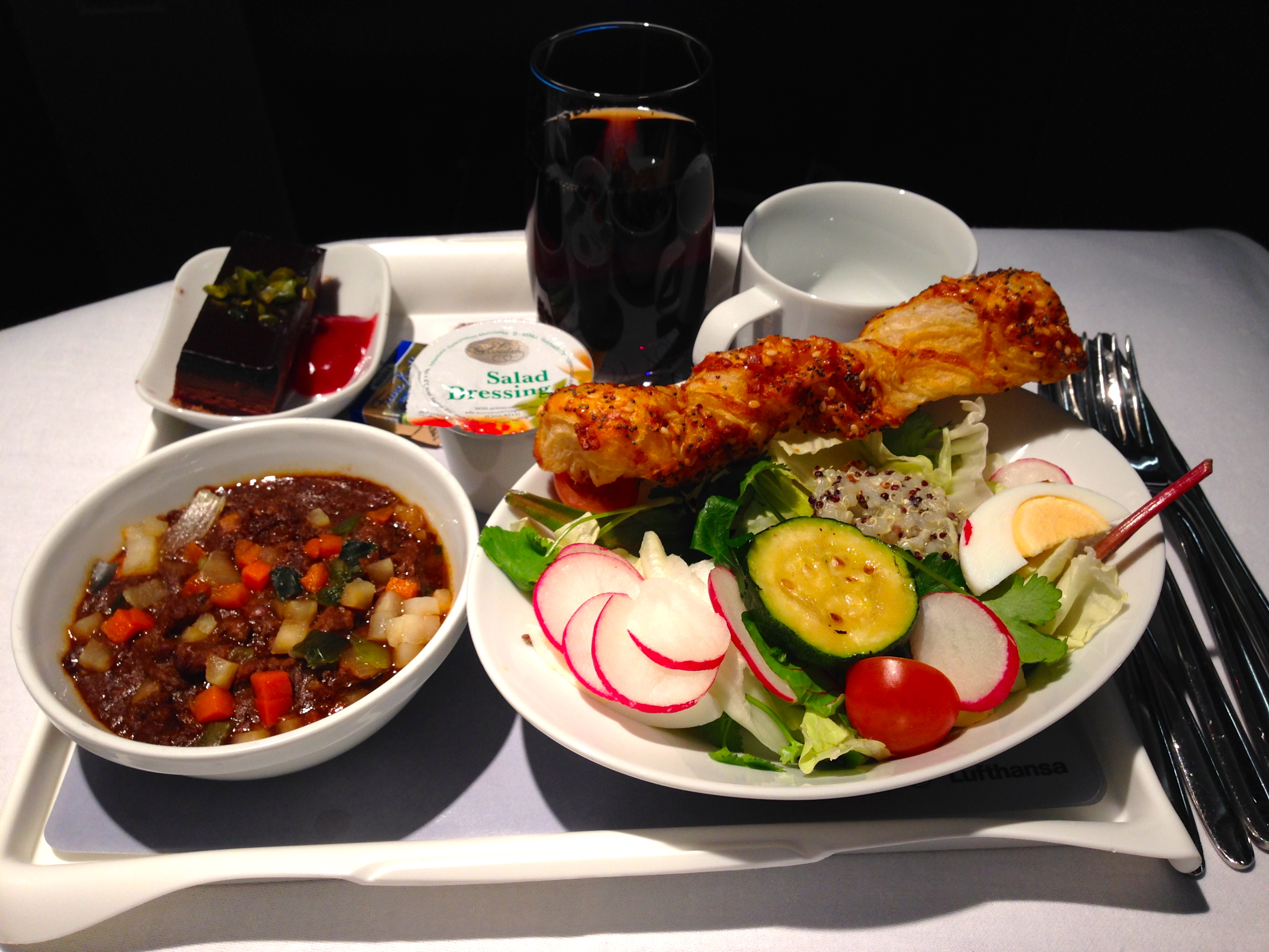 Lufthansa A340-300 Business Class Pre-Arrival Meal Munich to Chicago