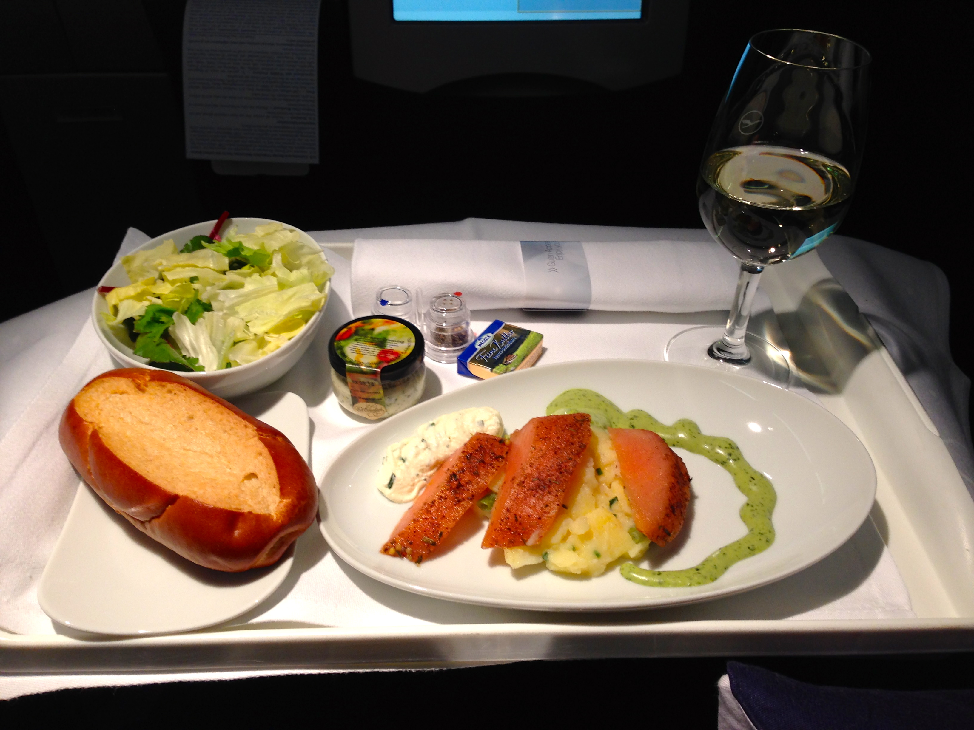 Lufthansa A340-300 Business Class Salad and Appetizer Munich to Chicago