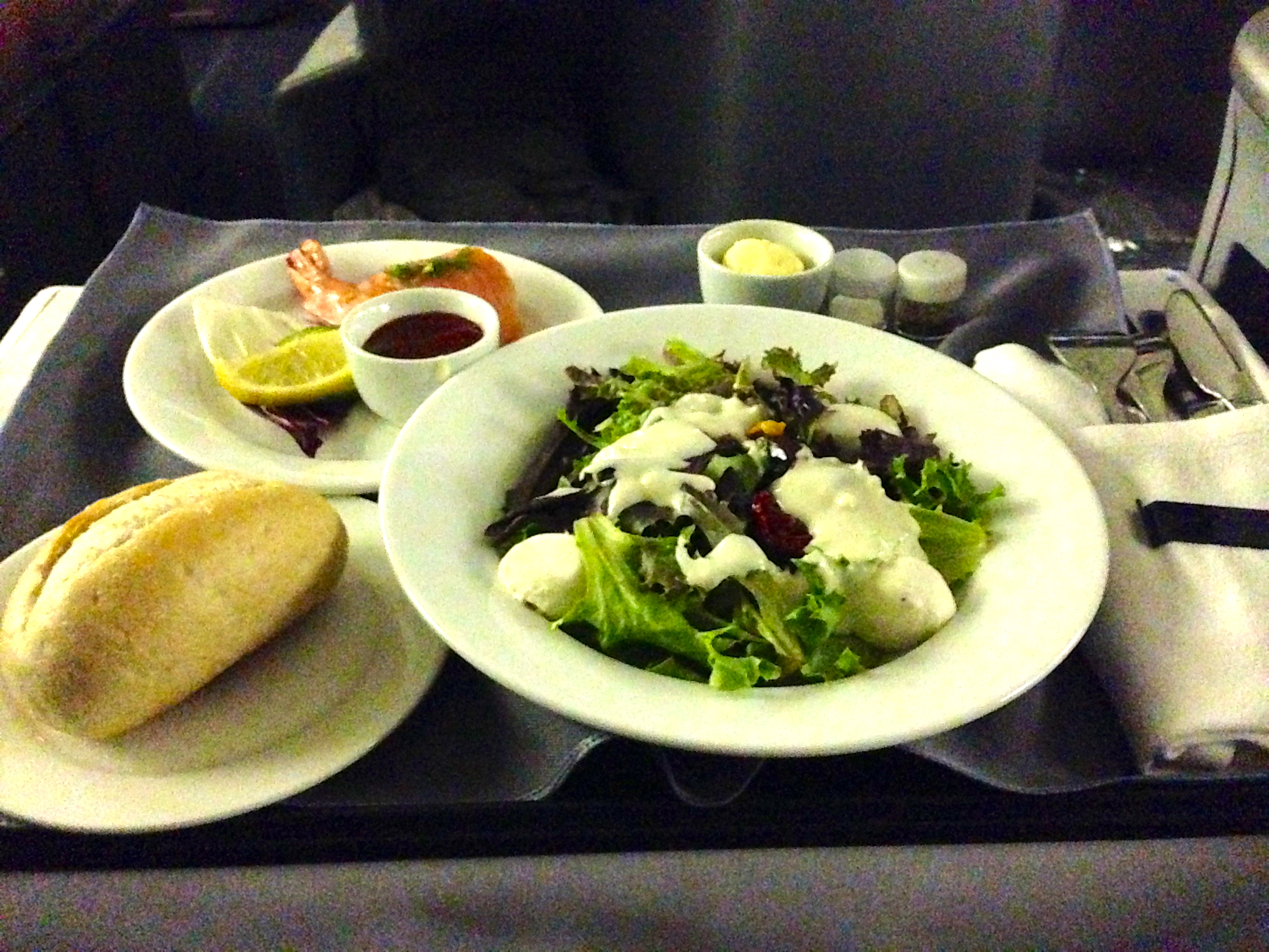 United Airlines 767-200 Business Class Appetizer and Salad Course BusinessFirst Chicago to Amsterdam
