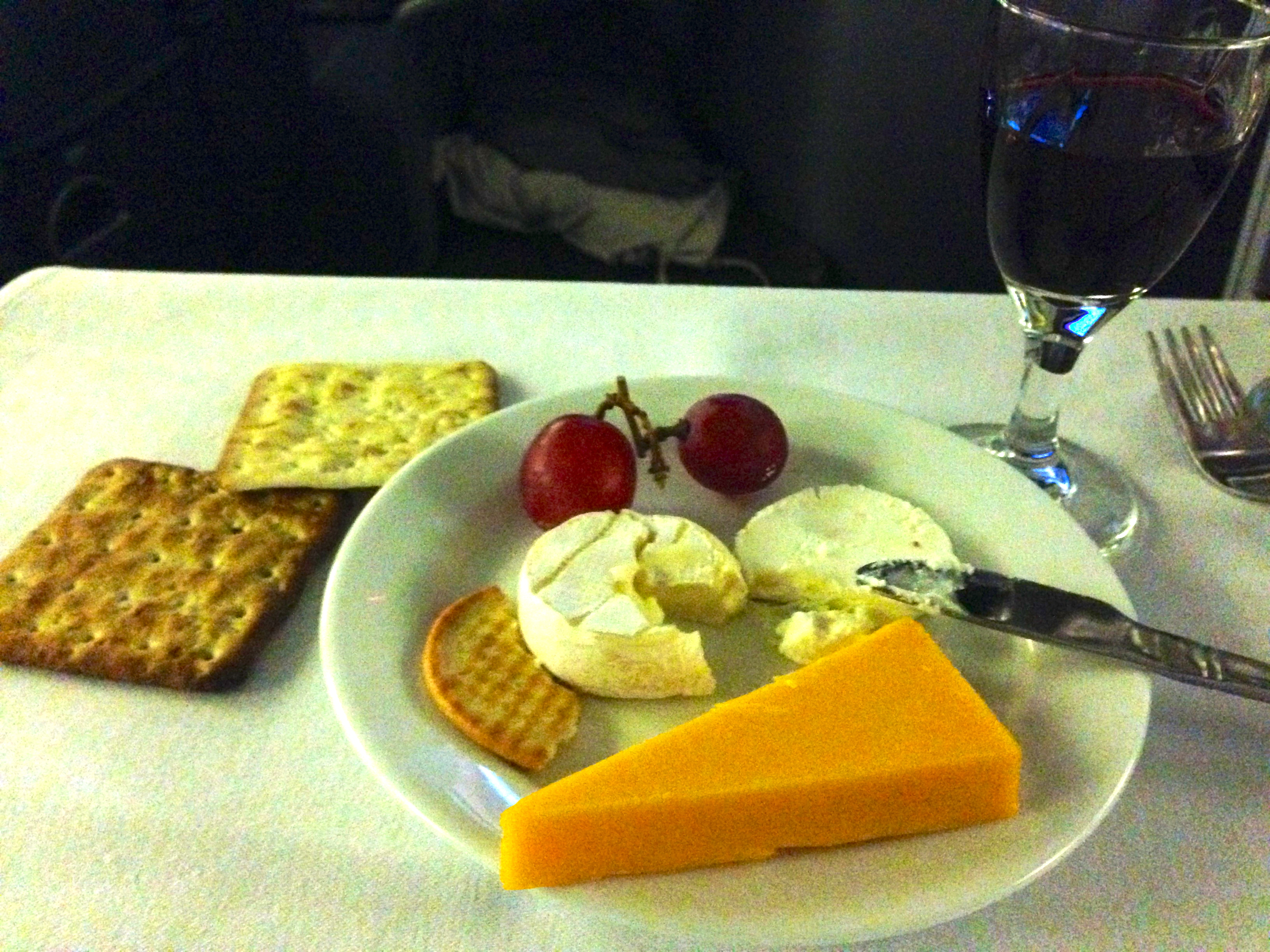 United Airlines 767-200 Business Class Cheese Course BusinessFirst Chicago to Amsterdam