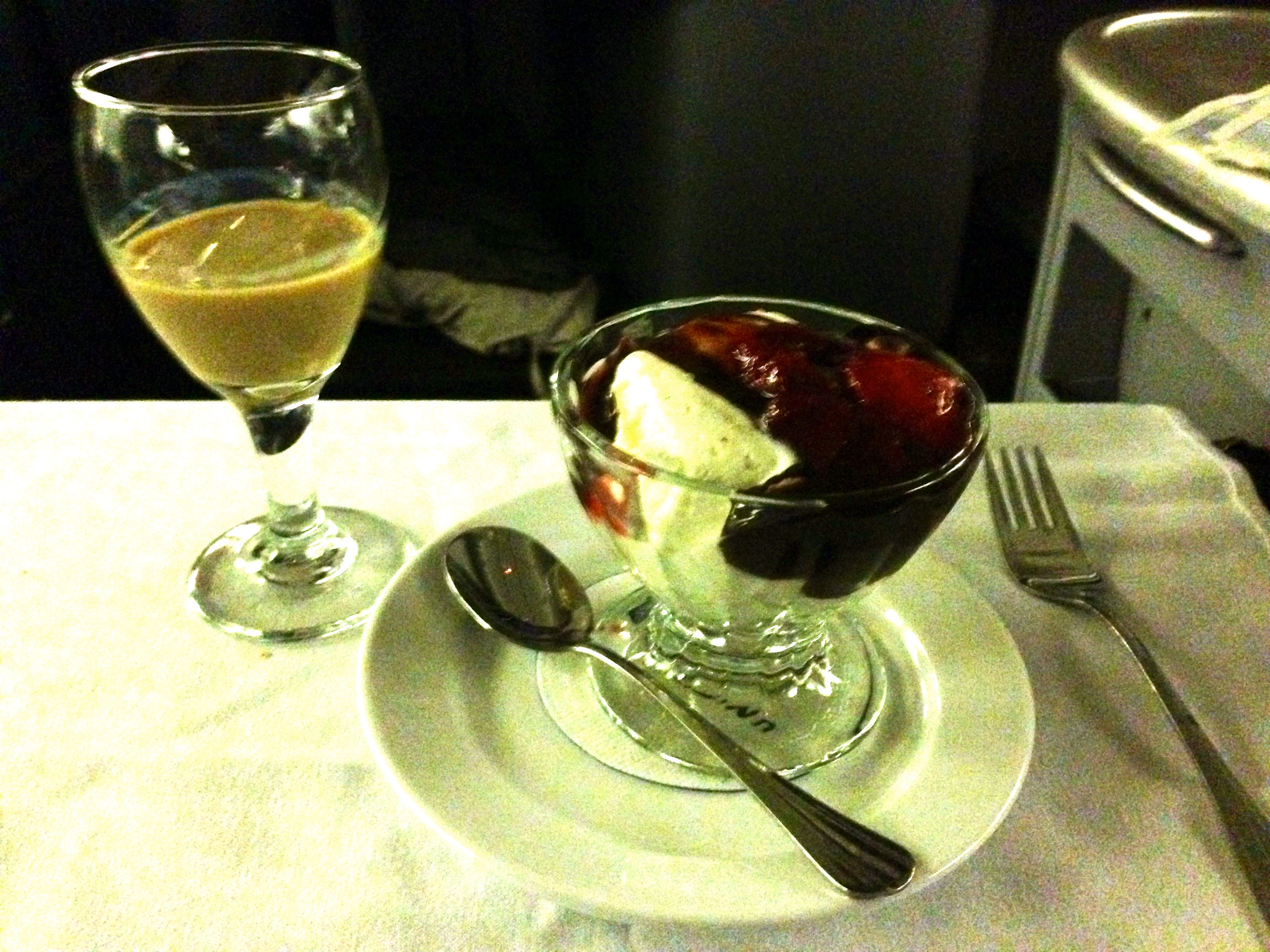 United Airlines 767-200 Business Class Dessert Sundae BusinessFirst Chicago to Amsterdam