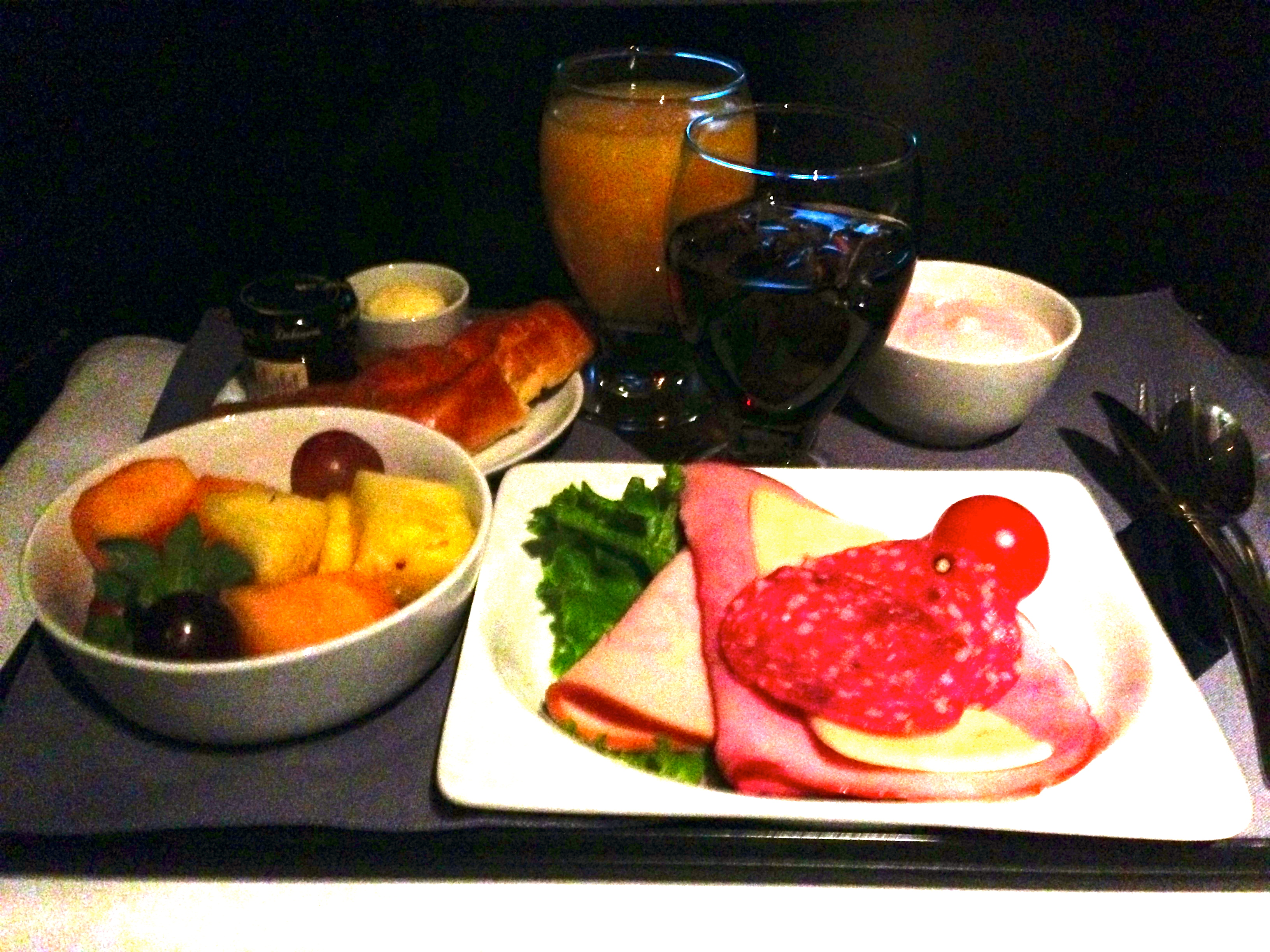 United Airlines 767-200 Business Class Pre-Arrival Meal BusinessFirst Chicago to Amsterdam