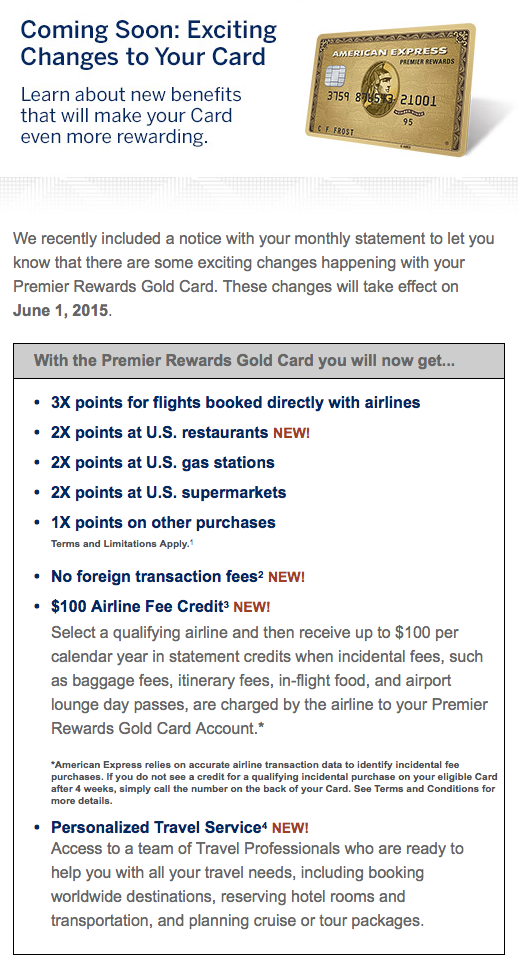 American Express Premier Rewards Gold Card New Benefits