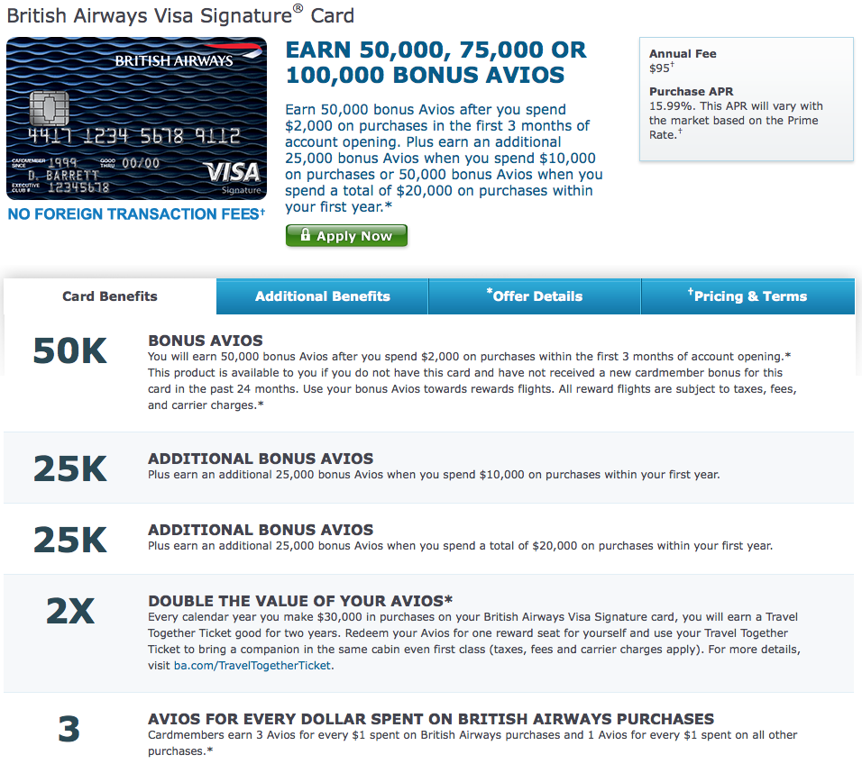 100K Bonus Points British Airways Credit Card Offer